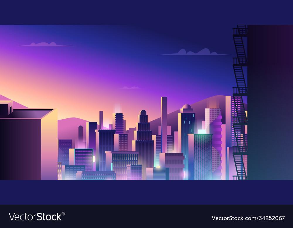 Futuristic urban landscape cyberpunk town with