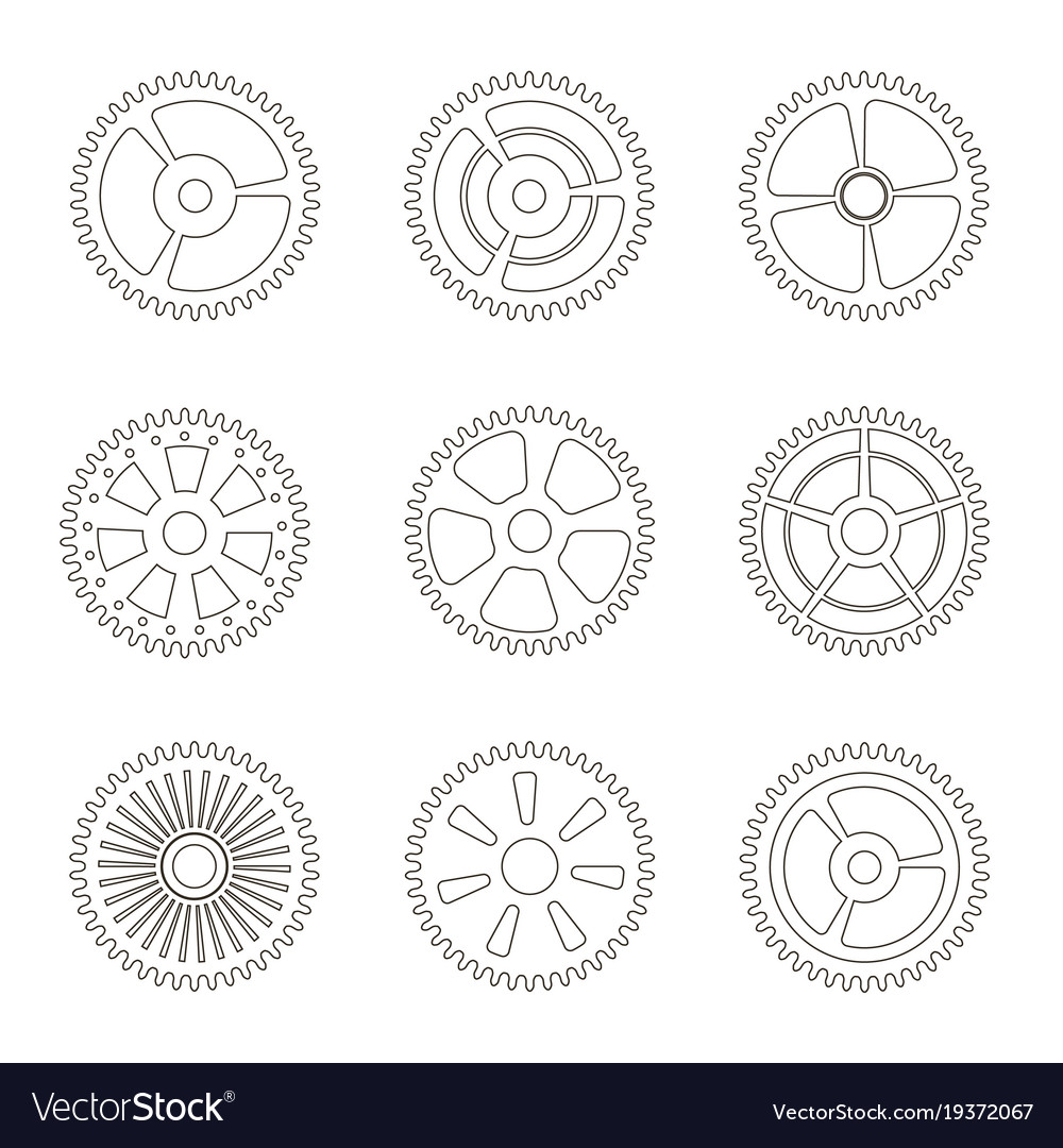 Gears cogs wheels or sprocket line icon set