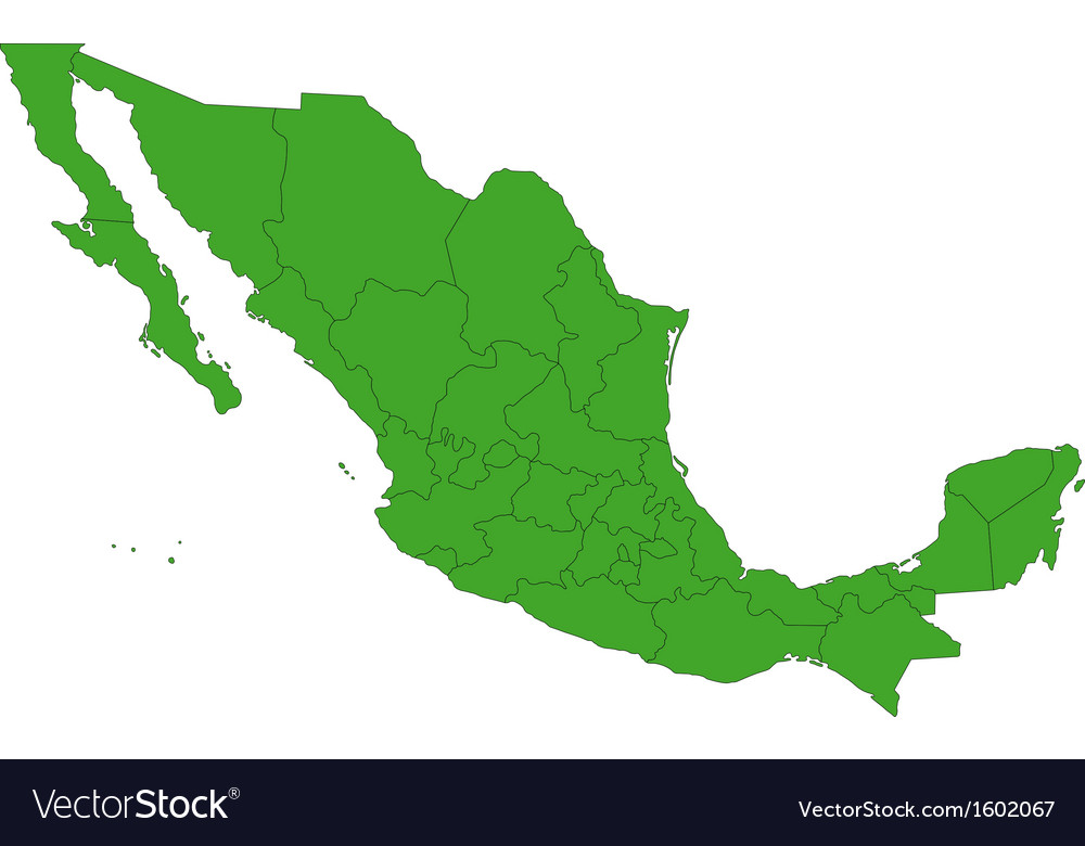 Green Mexico map vector image