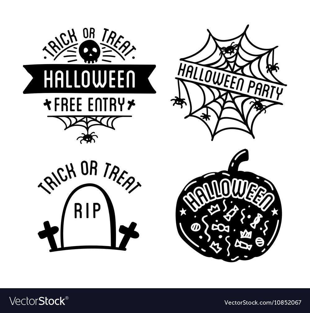 Happy halloween design collection black badges