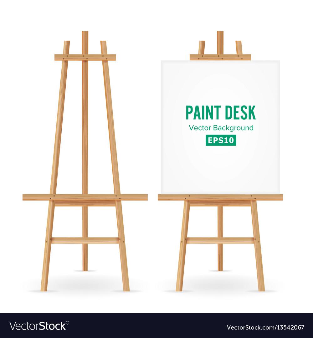 Paint desk artist easel set with white