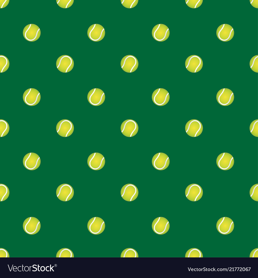 Seamless pattern with tennis ball on a green