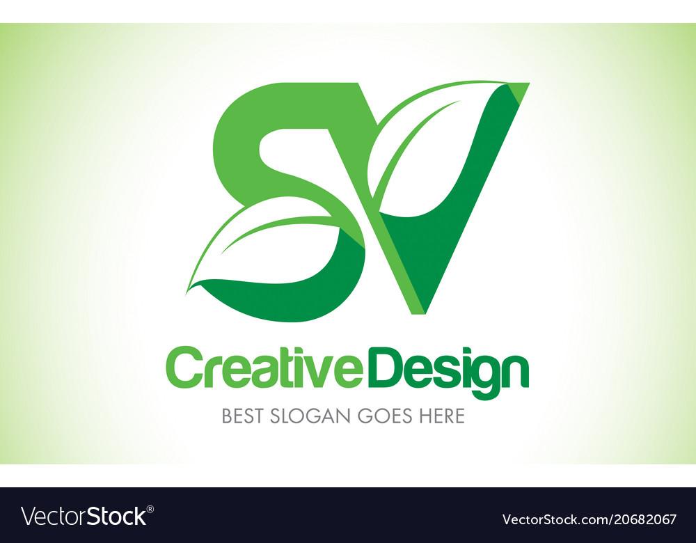 Sv green leaf letter design logo eco bio leaf