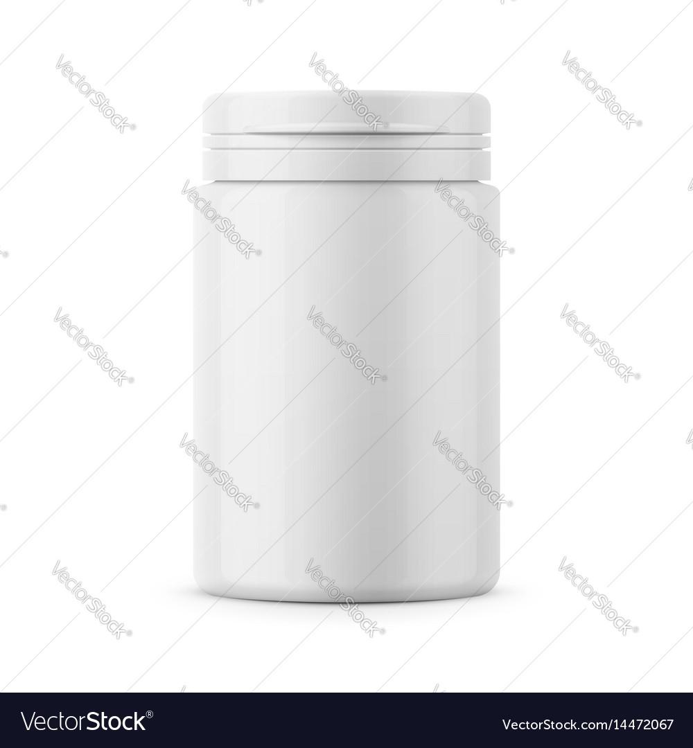 White plastic tablet bottle template vector image