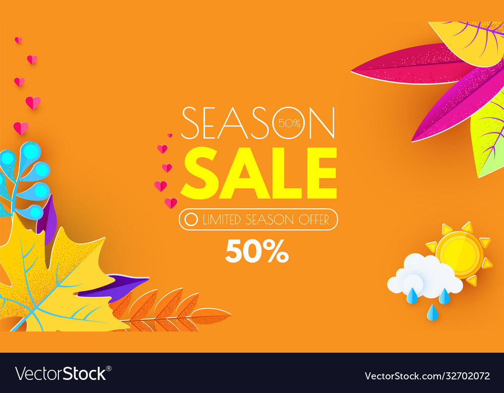 Autumn sale seasonal offer poster template