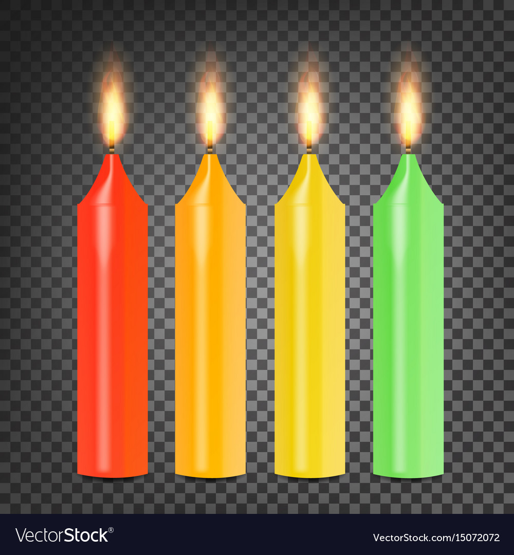 Burning 3d realistic dinner candles set vector image