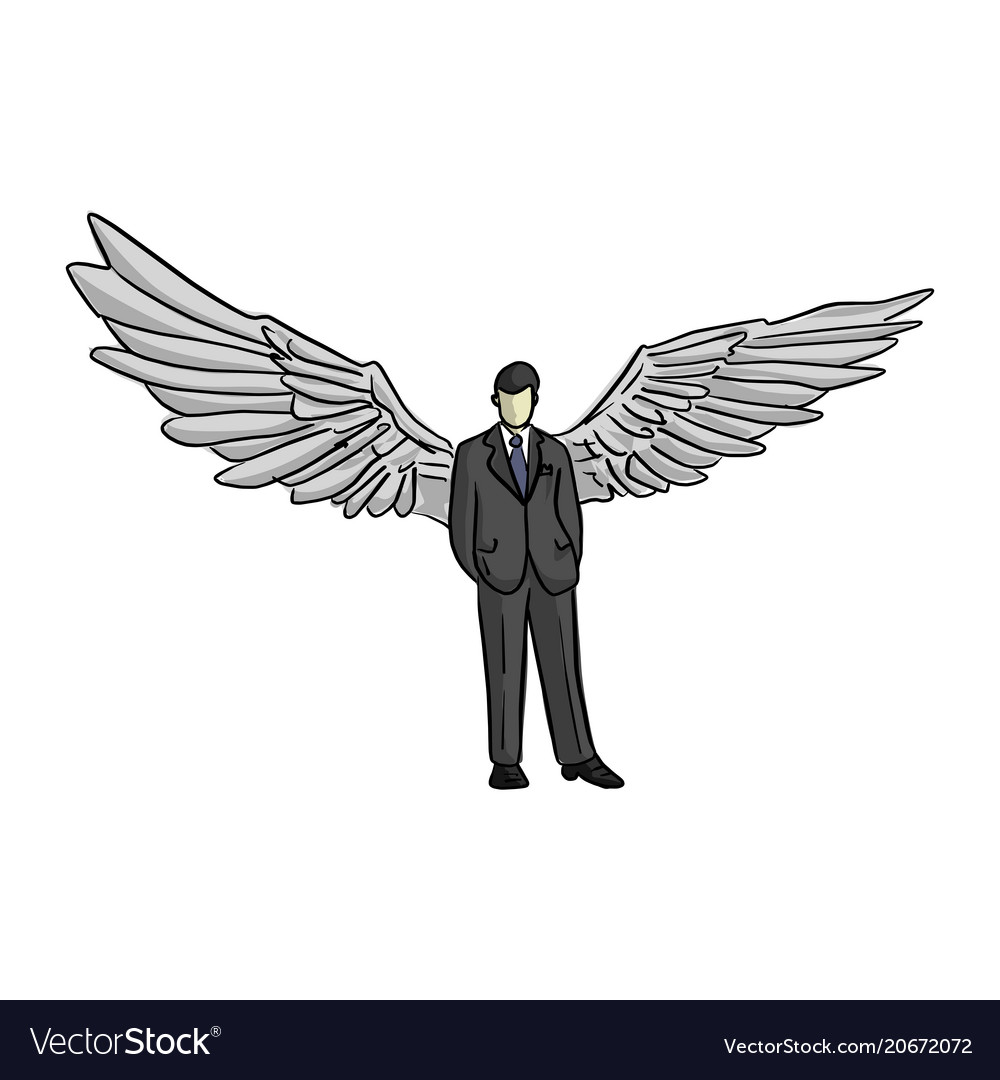 Businessman with wing on his back vector image