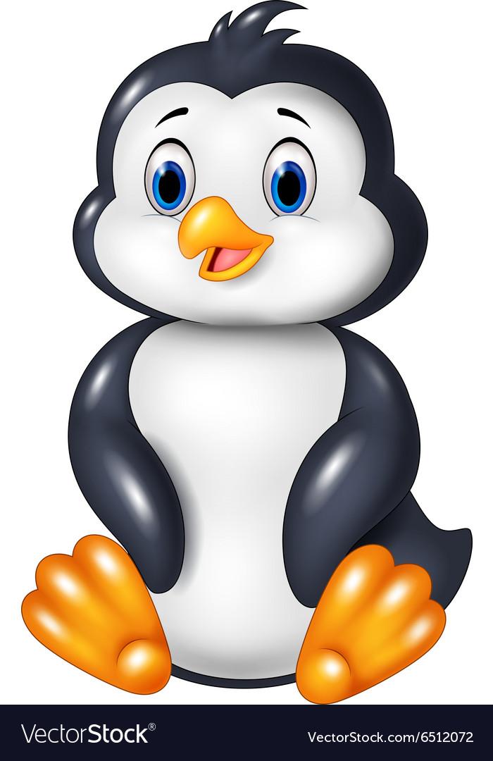 Cartoon funny penguin sitting isolated