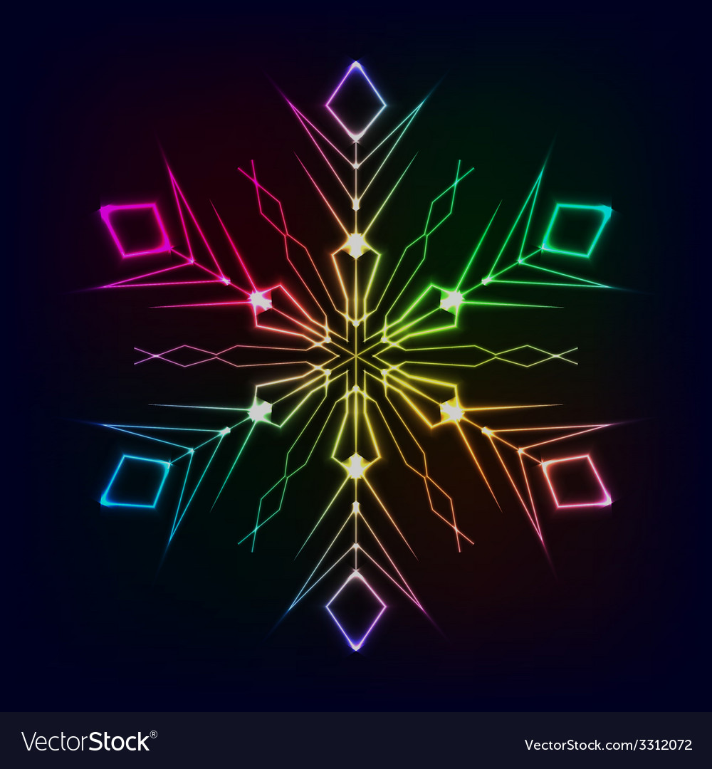 Clorful shiny snowflake on dark background