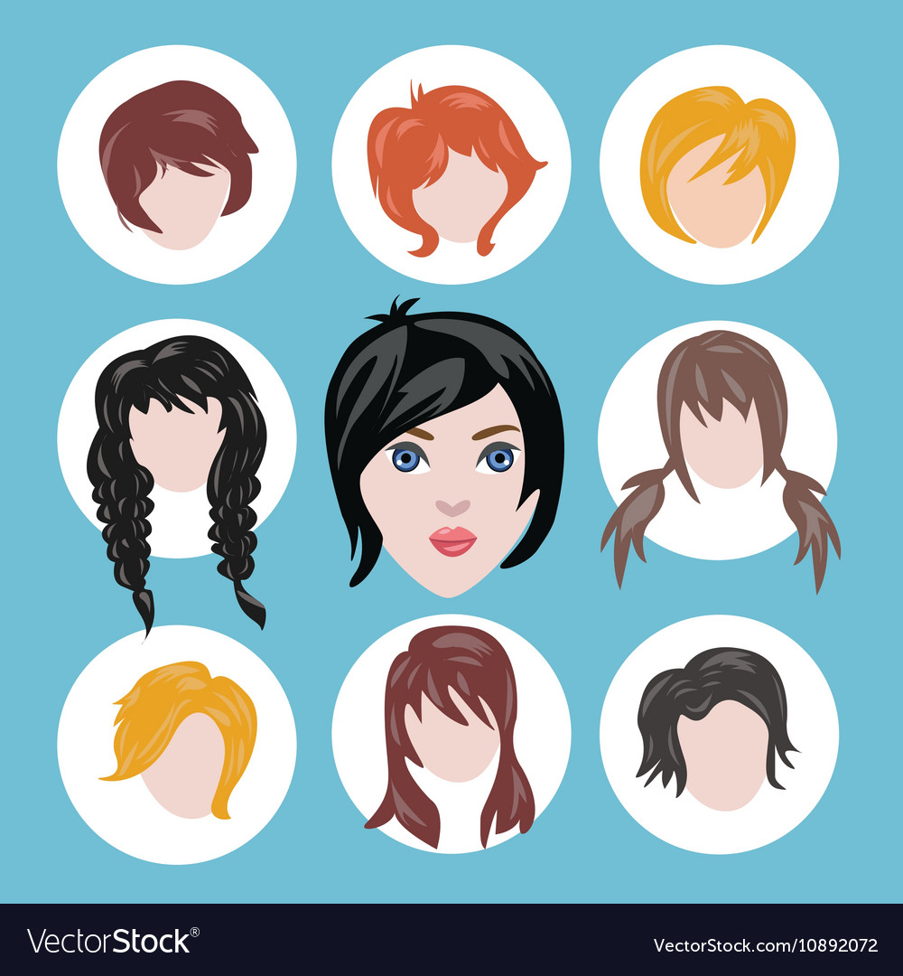Different girls hairstyle collection