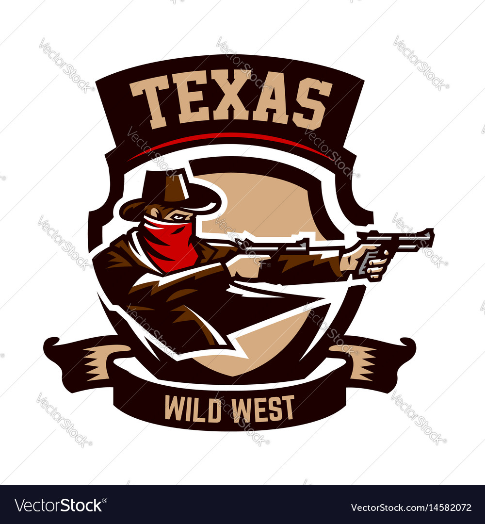 Emblem logo cowboy shooting from two revolvers