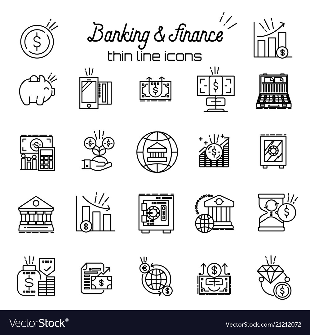 Finance and money icon banking business thin