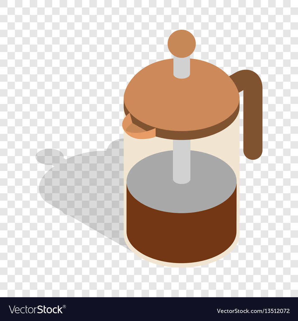 French press coffee maker isometric icon