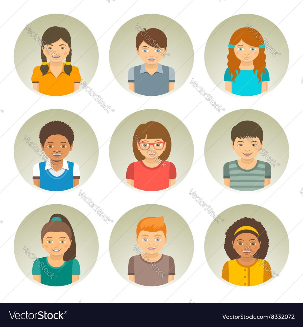 Kids different races round flat avatars