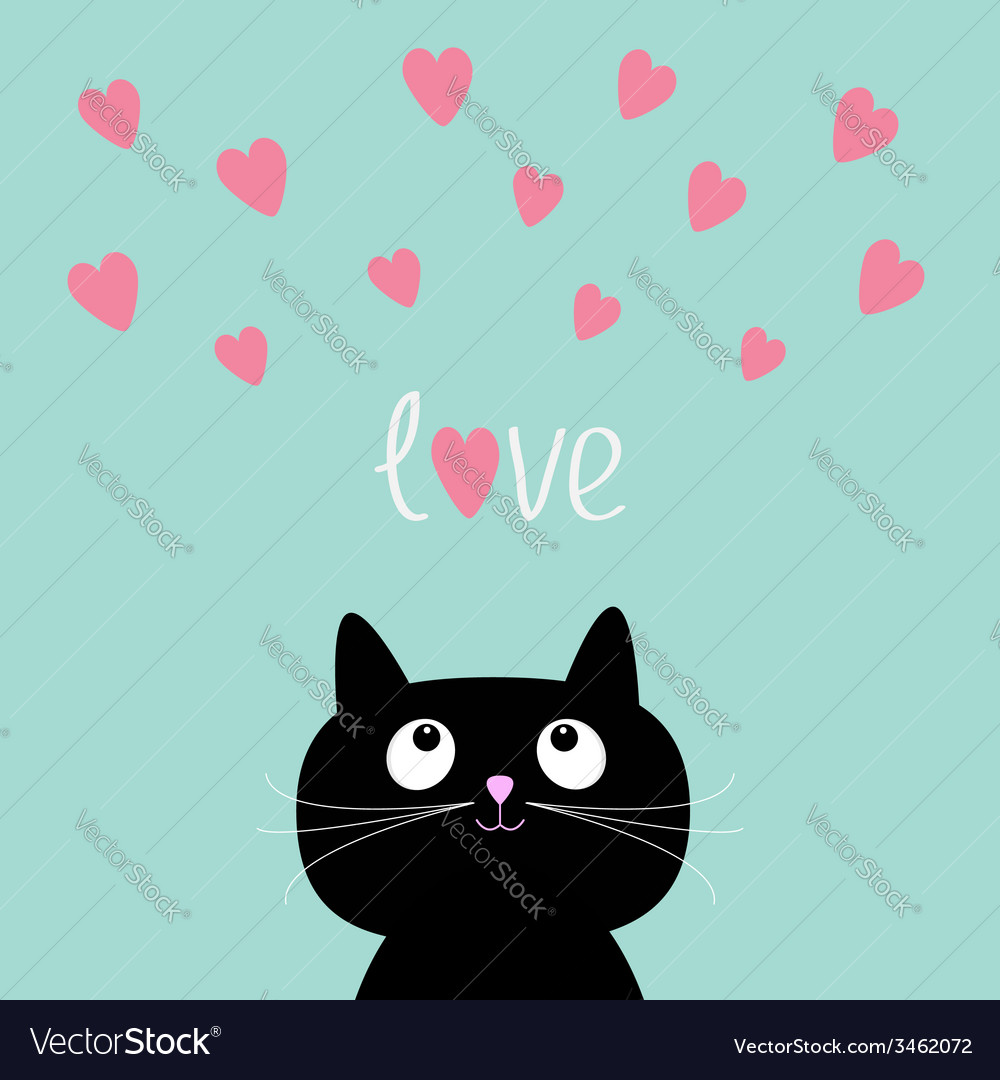 Pink Hearts And Cute Cartoon Cat Flat Design Style