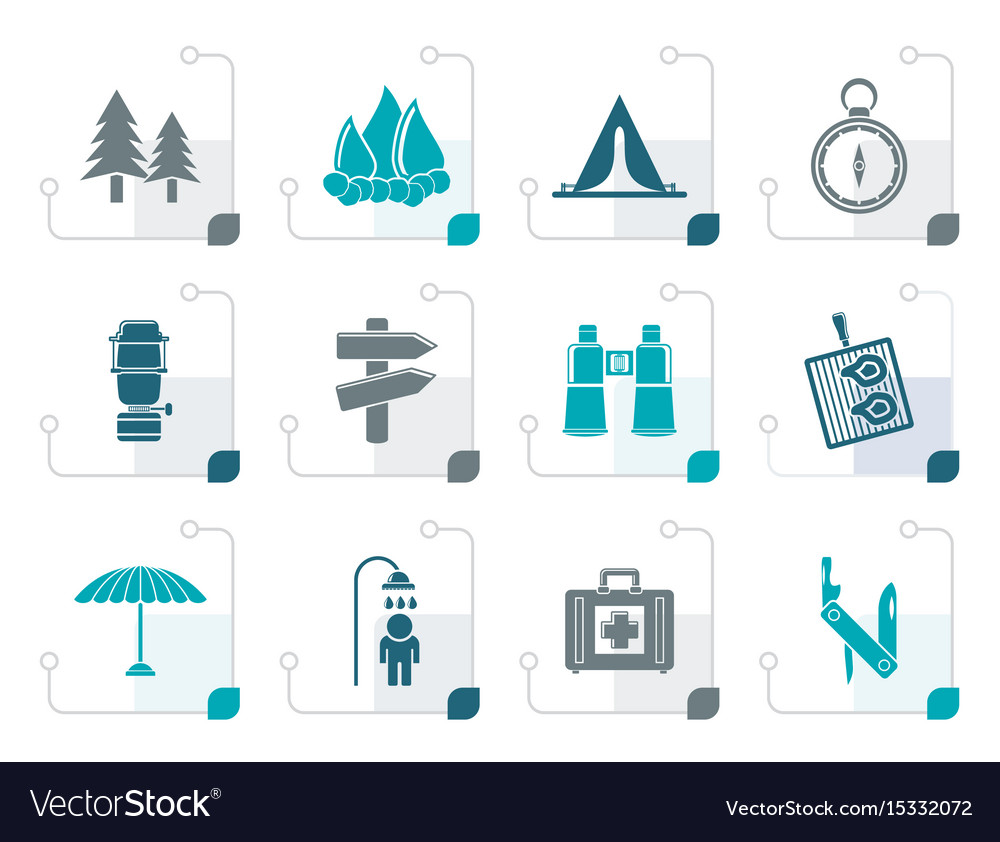 Stylized camping travel and tourism icons