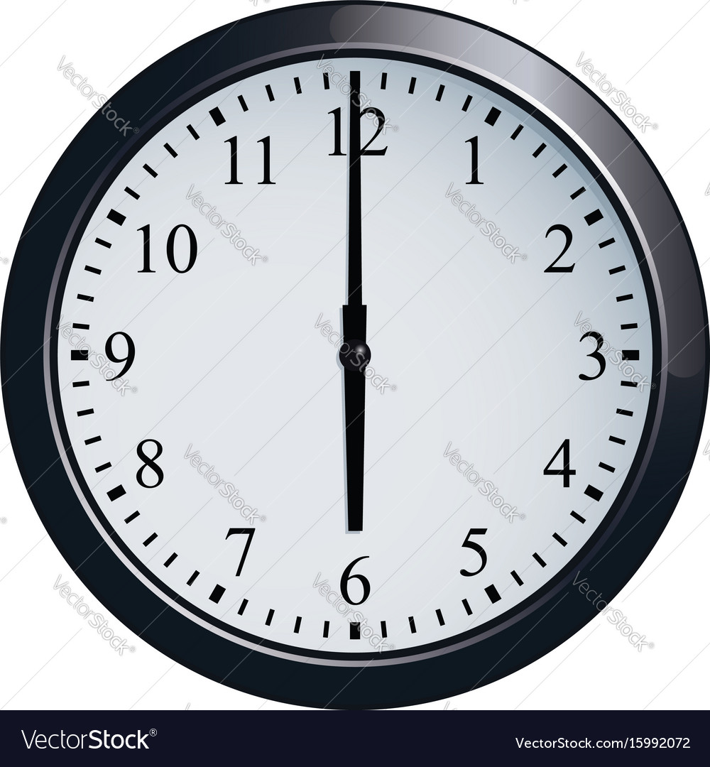 Wall Clock Set At 6 O Clock Royalty Free Vector Image