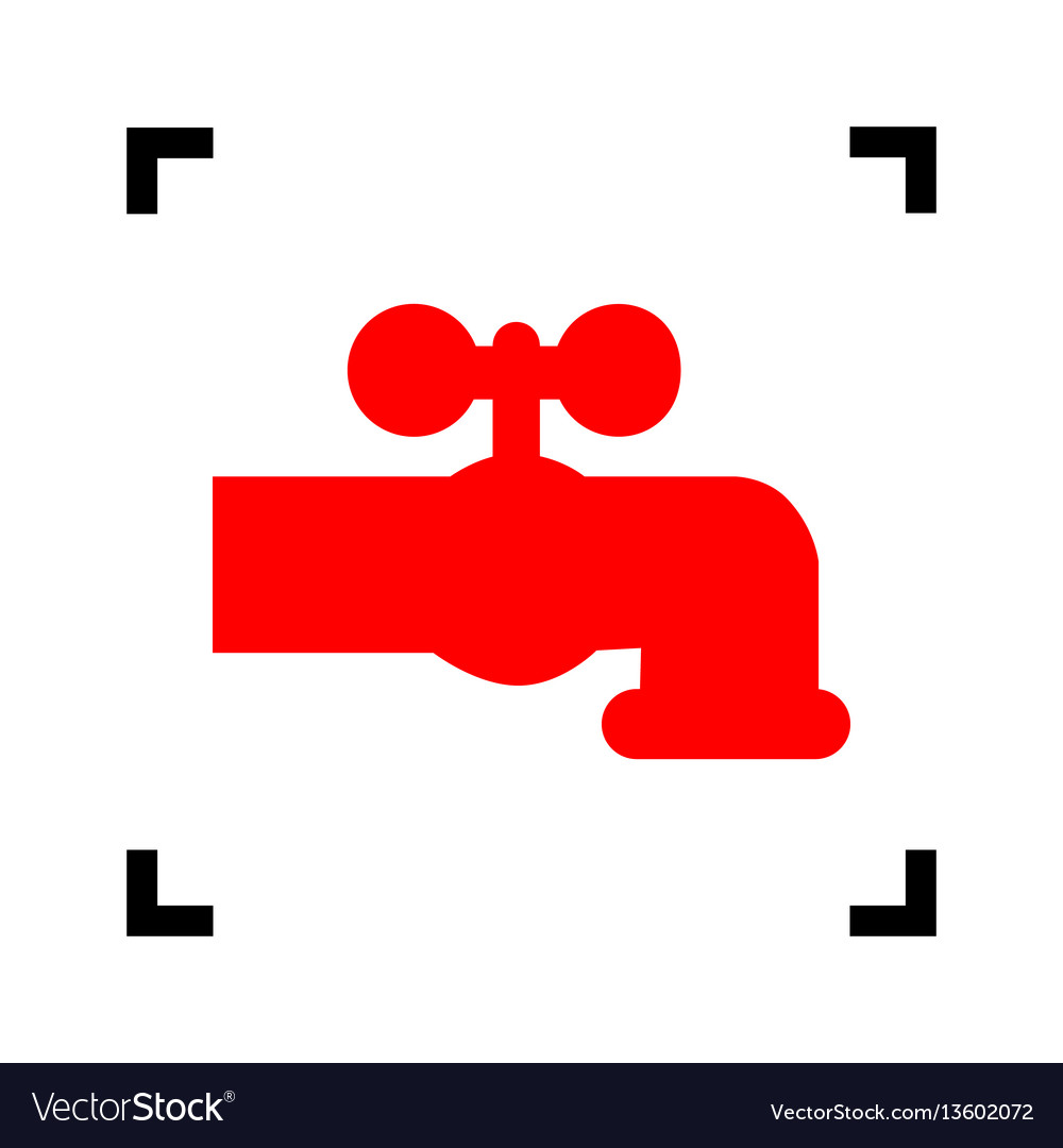 Water faucet sign red icon Royalty Free Vector Image