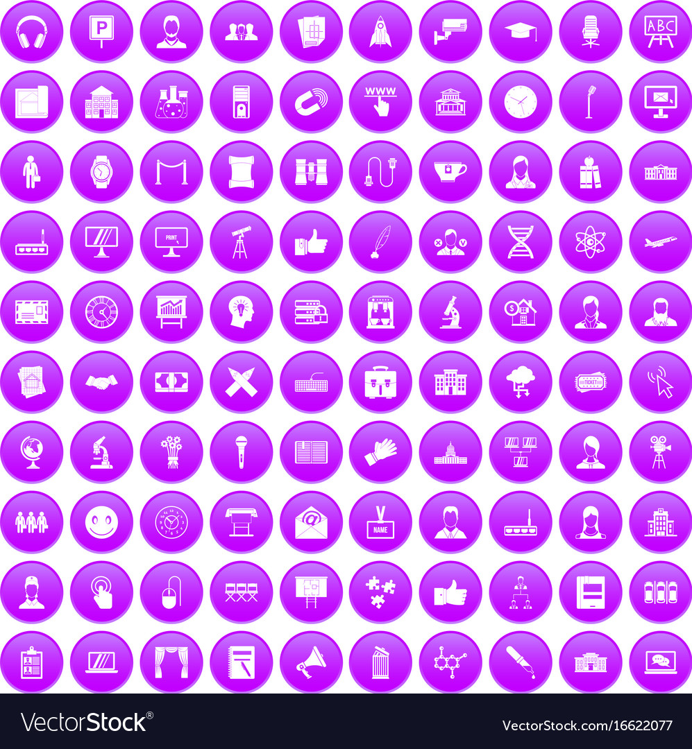 100 conference icons set purple
