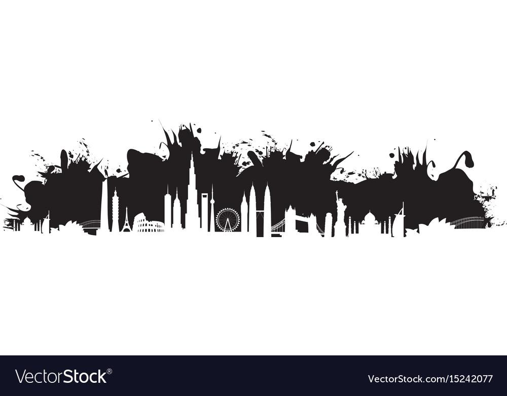 Black cityscape splash vector image