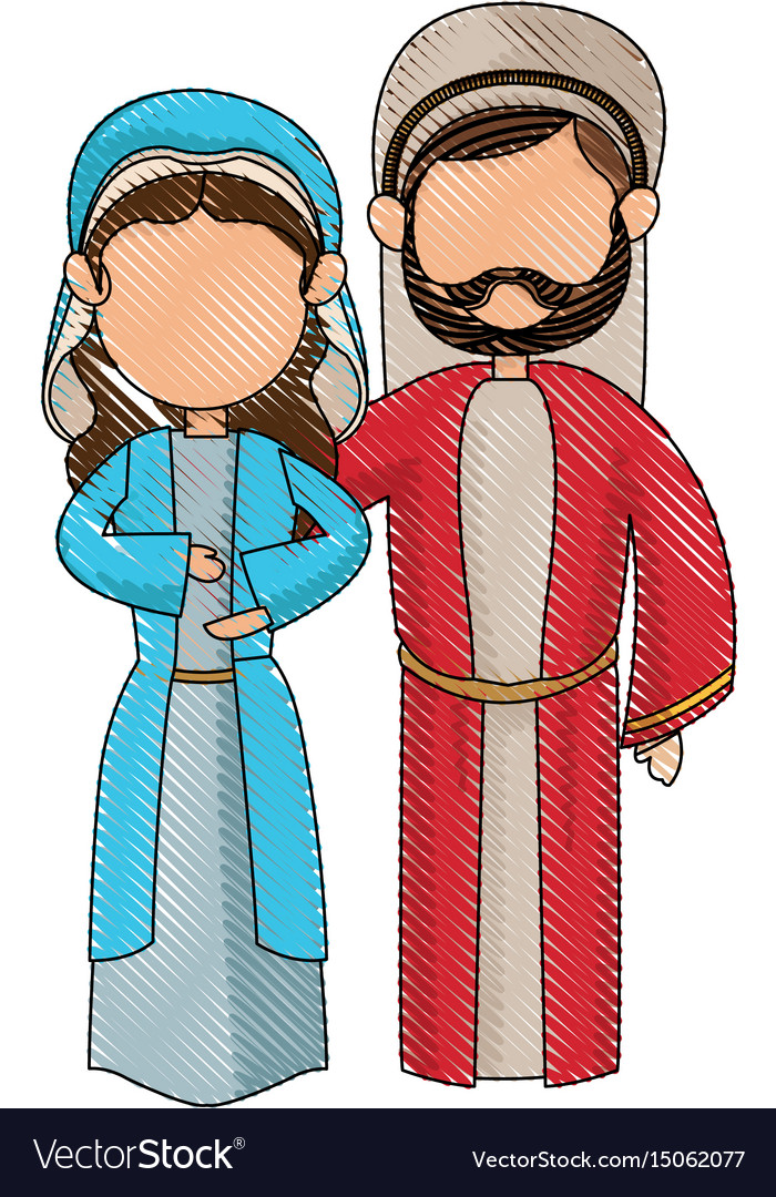 Cartoon virgin mary and joseph manger image