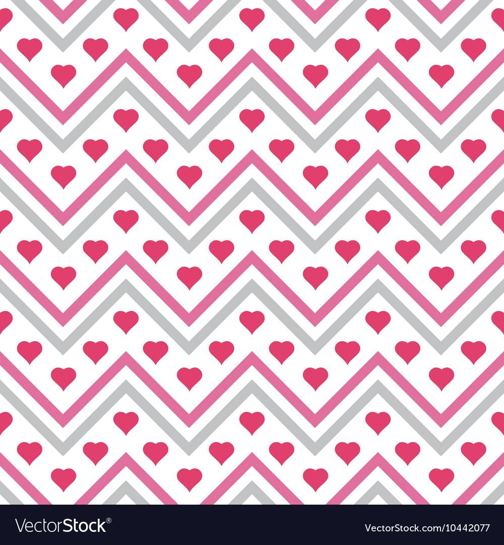 Chevron Hearts Seamless Pattern