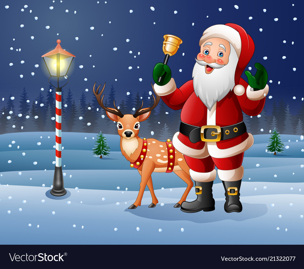 christmas background with cartoon santa claus ring vectorstock