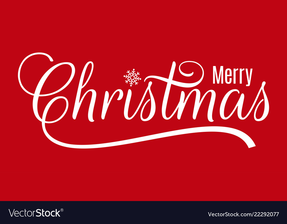 Christmas vintage lettering merry xmas on red