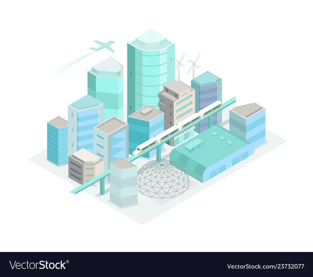 City isometric landscape modern architecture