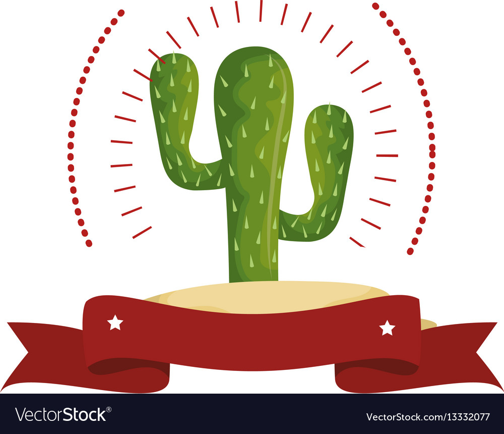 Colorful arch wit cactus with thorns and ribbon