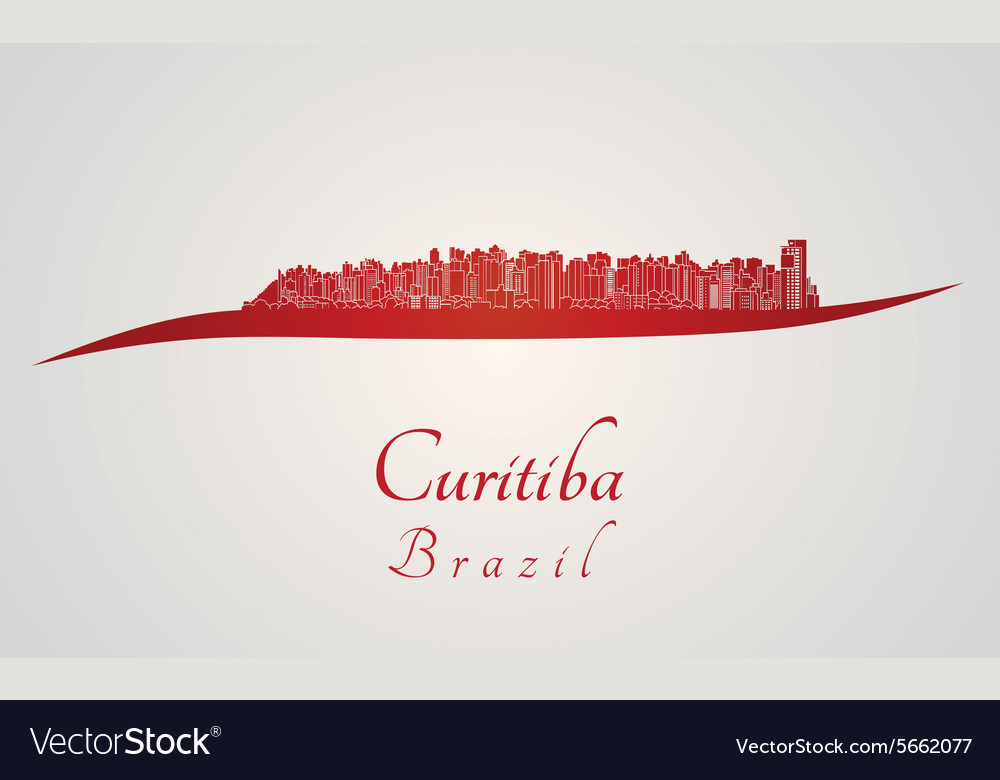 Curitiba Skyline In Red Vector Image