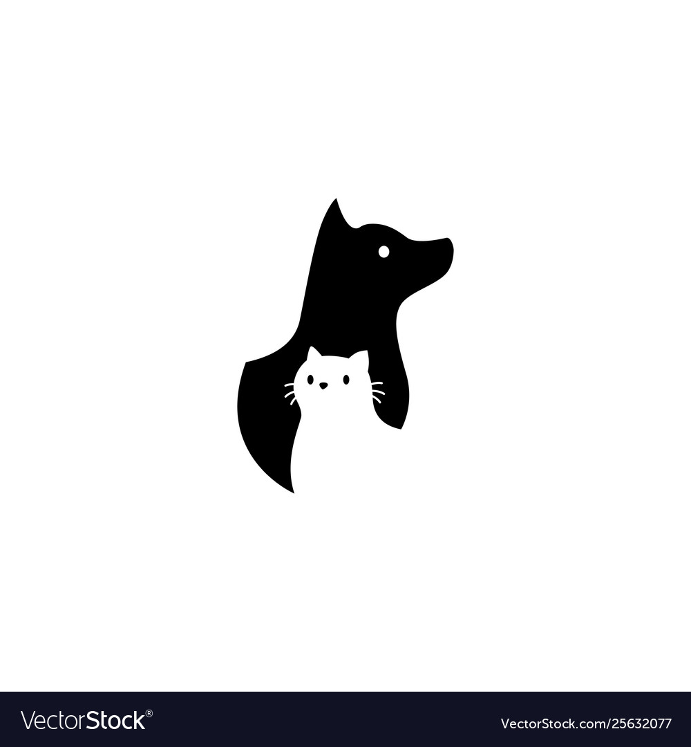 Dog and cat on negative space logo icon