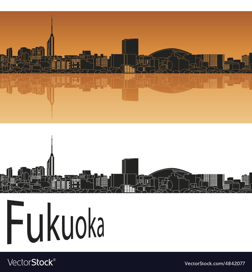 Fukuoka skyline in orange vector image