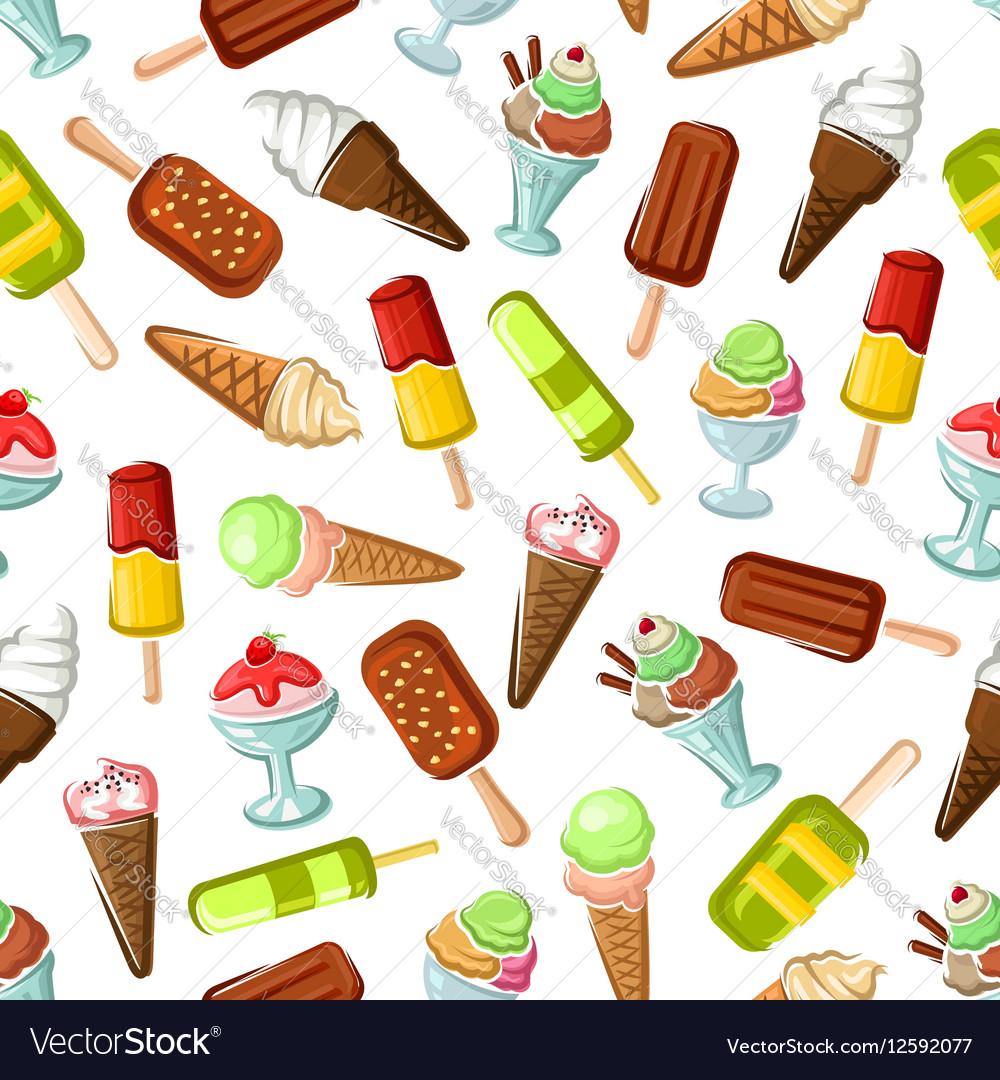 Ice cream desserts seamless pattern