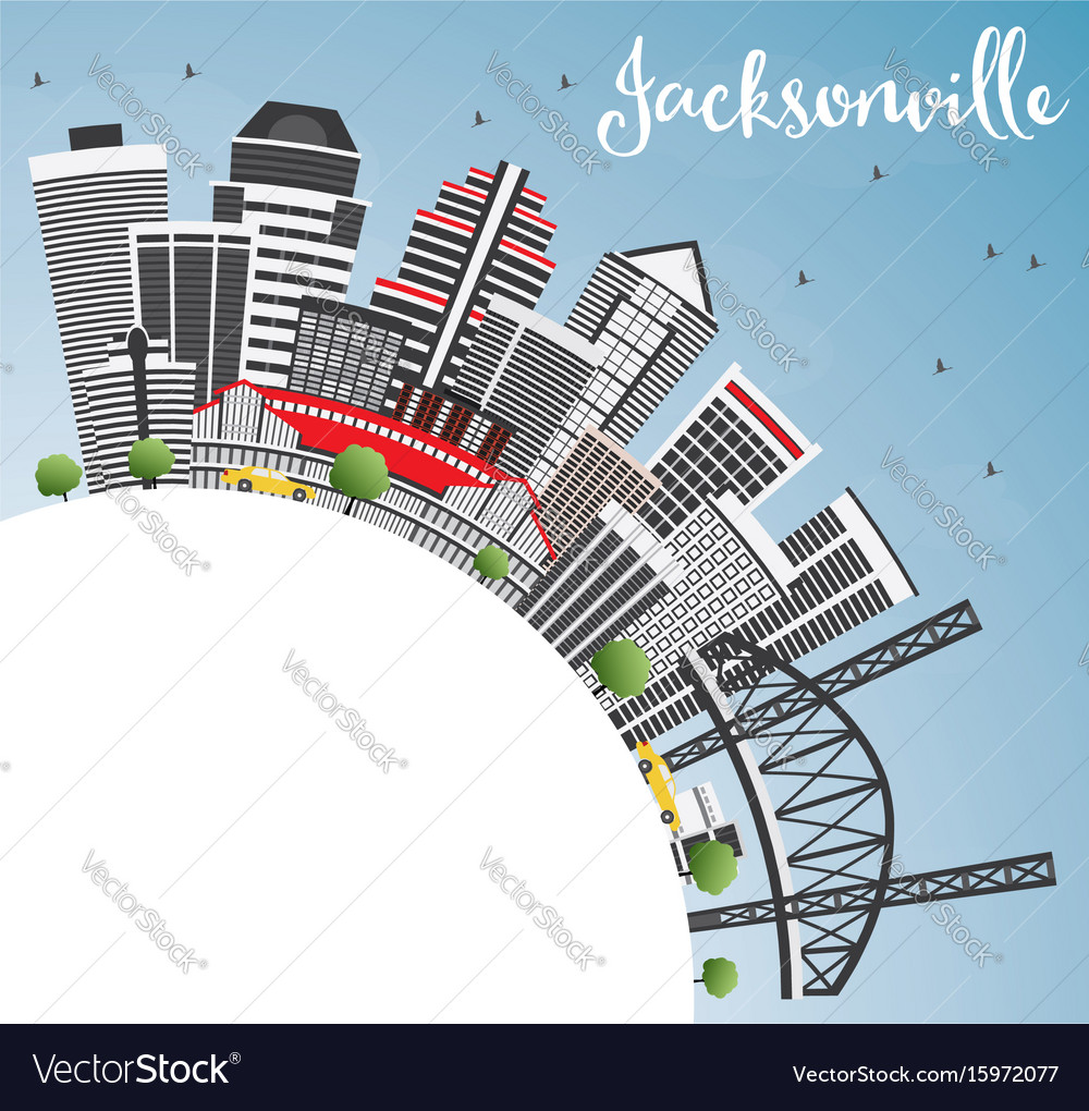 Jacksonville skyline with gray buildings blue sky vector image