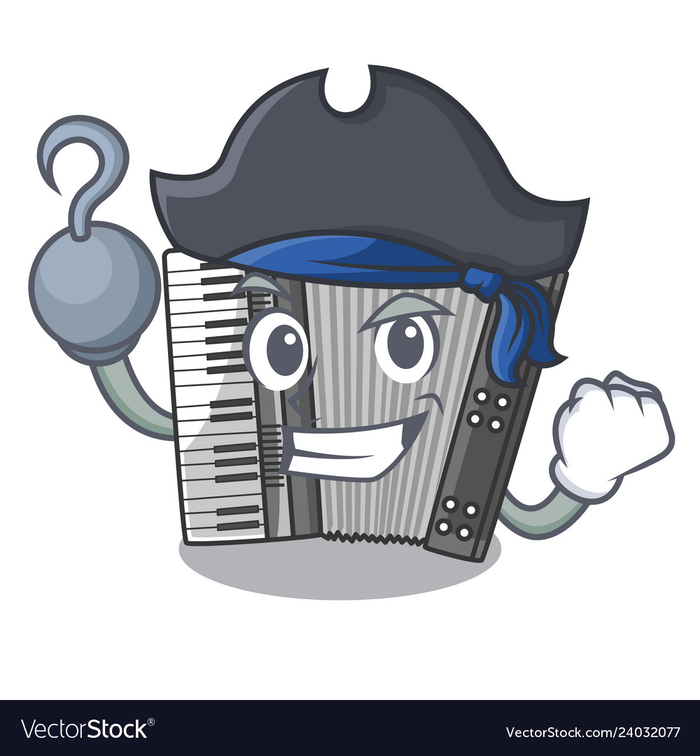 Pirate according cartoons in the music room vector image