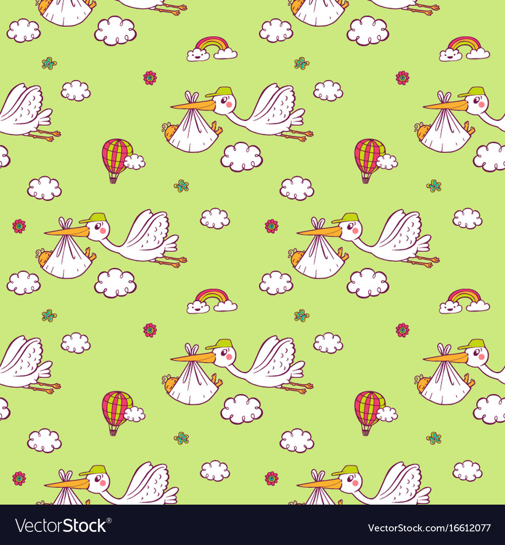 Seamless pattern with cute storks carrying the