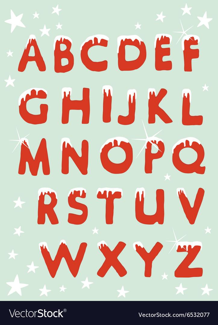 Christmas Alphabet.Snowy Christmas Alphabet