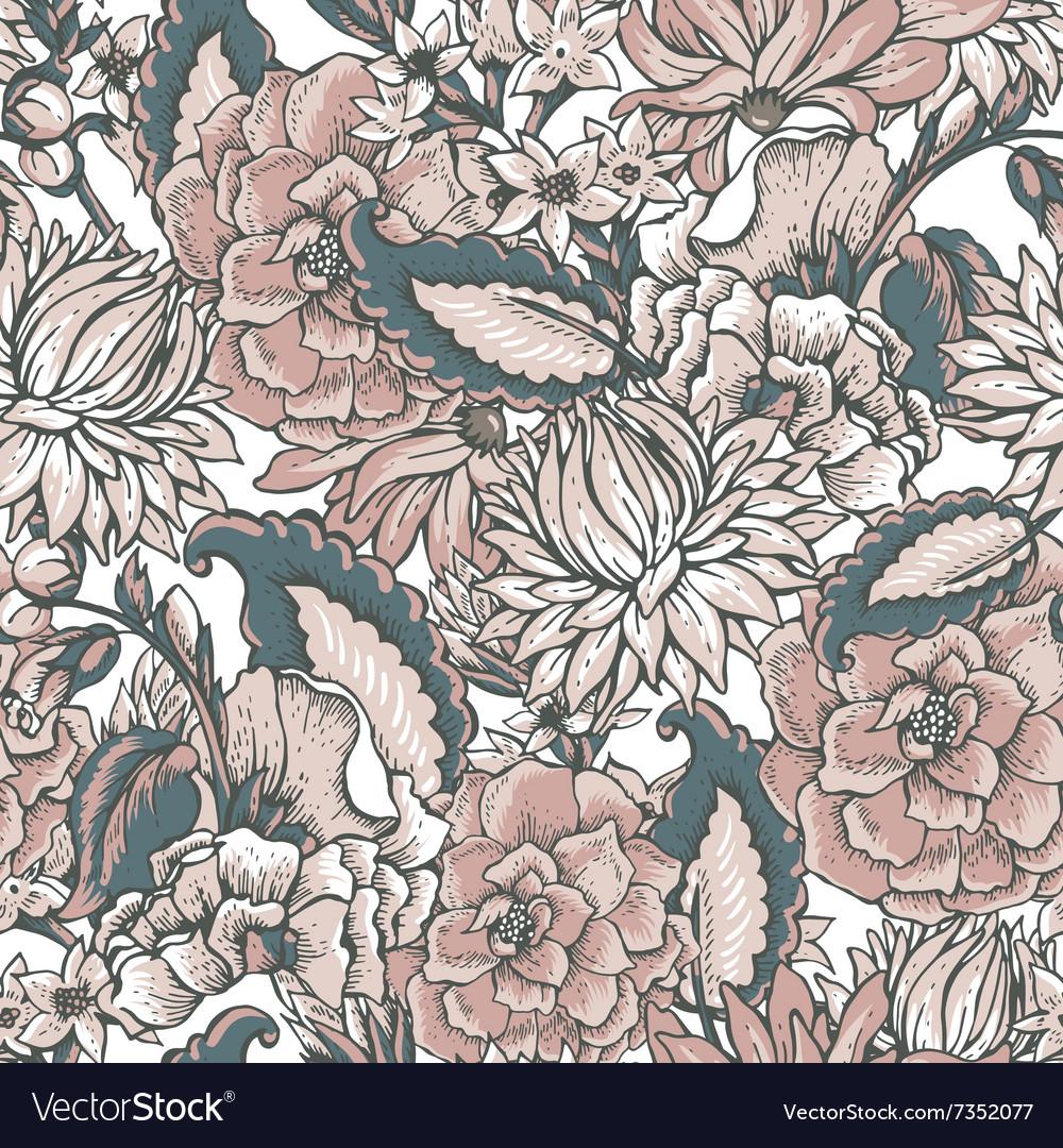 Vintage floral baroque seamless pattern