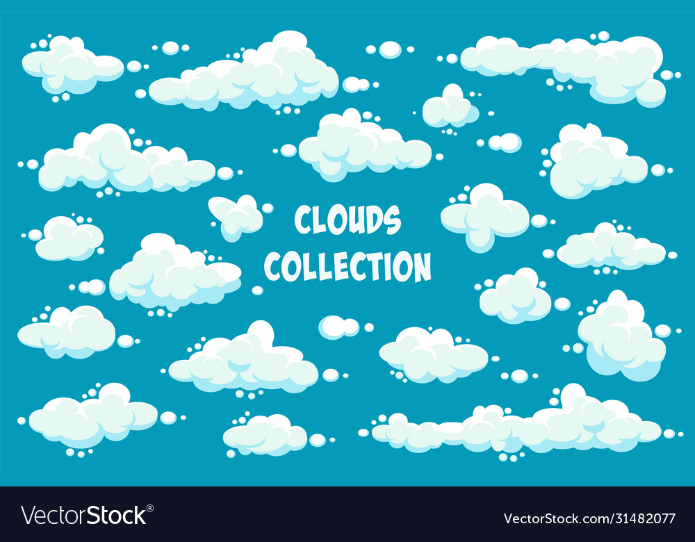 White clouds set abstract blue summer sky simple