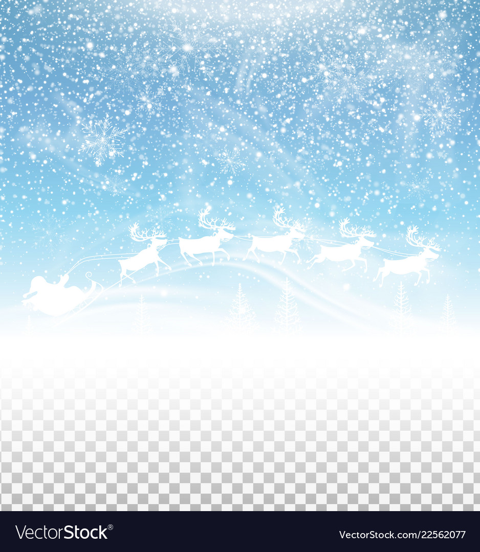 Winter sky with falling snow and santa claus