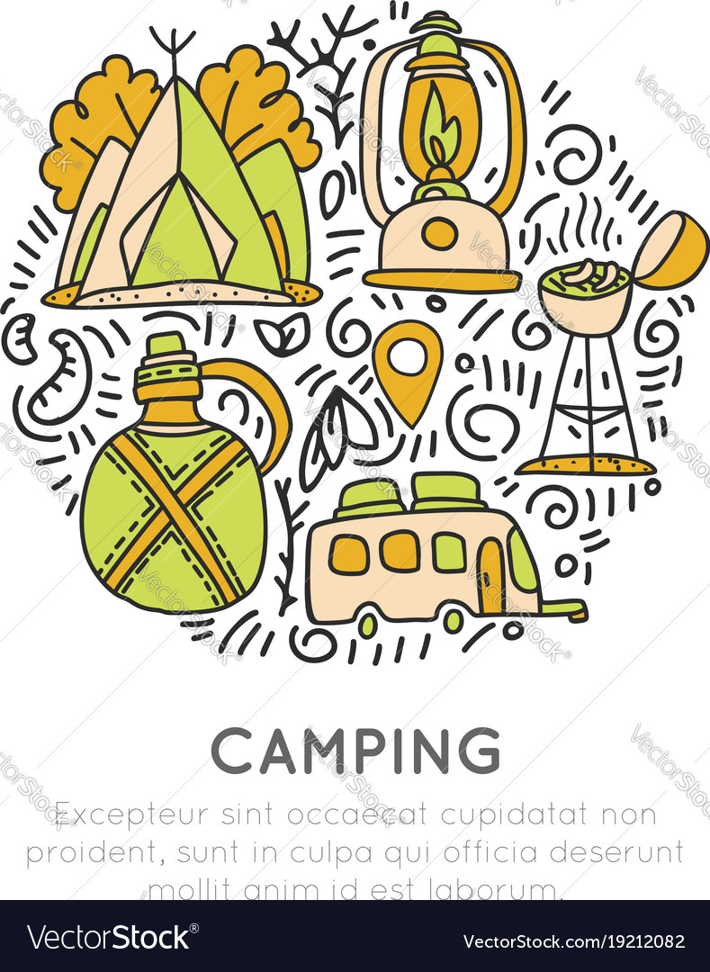 Camping hand draw concept tent lamp