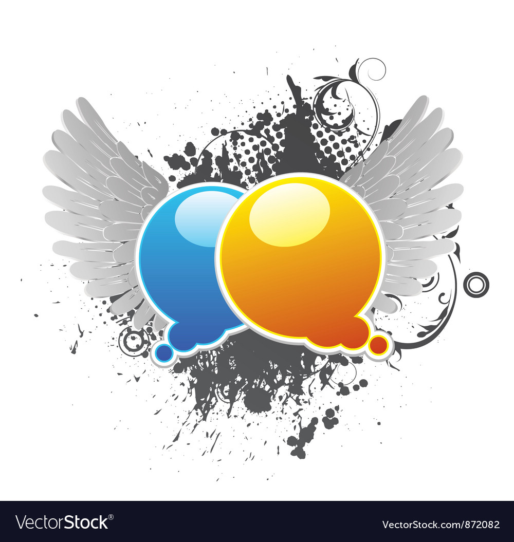 Chat bubbles with grunge background and wings vector image