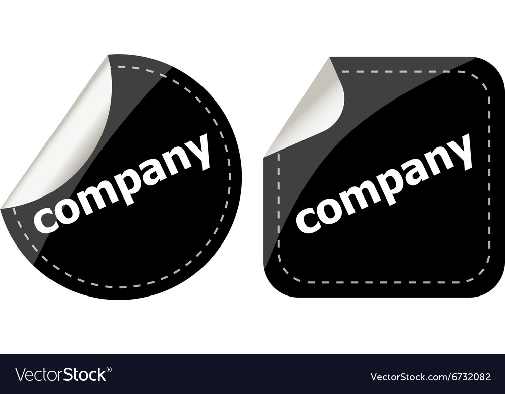 Company word on black stickers button set label