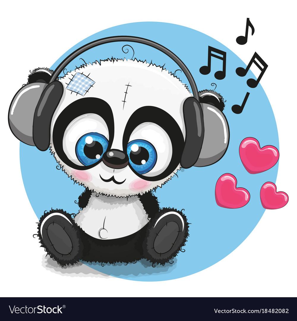 cute cartoon panda with headphones royalty free vector image rh vectorstock com Cute Cartoon Pandas with Mustaches Cute Cartoon Girl Panda