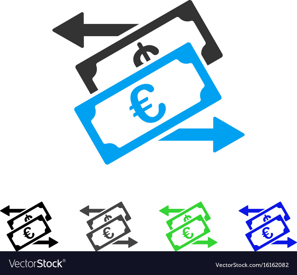 Euro Currency Exchange Flat Icon Vector Image