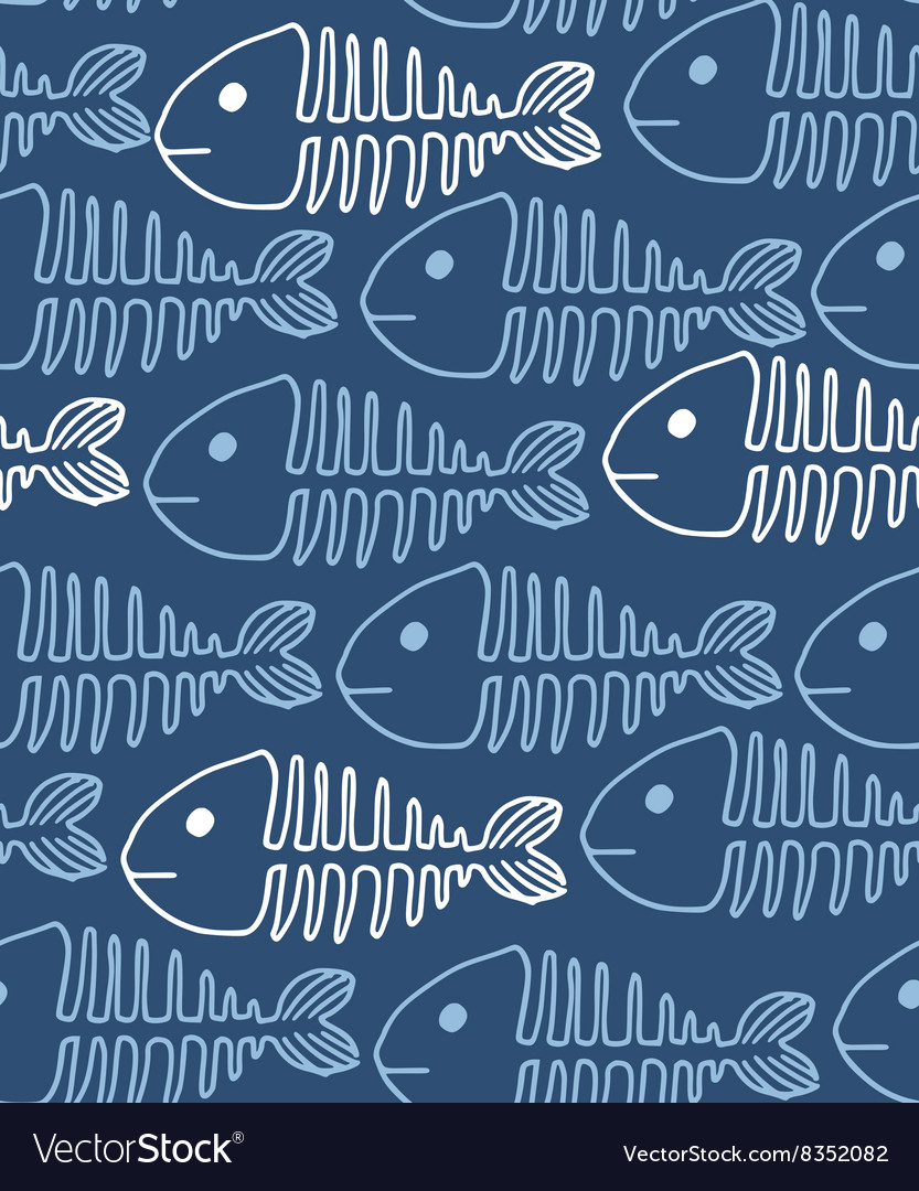 Hand drawn Seamless pattern of fish vector image