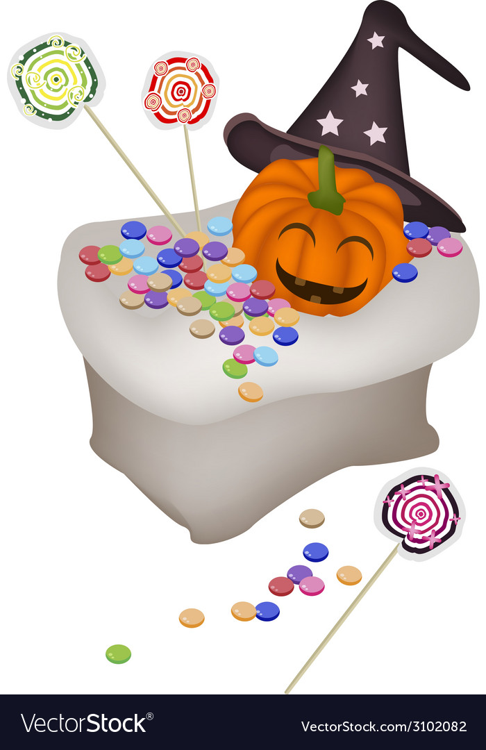 Jack-o-Lantern Pumpkins with Candies in A Sack vector image