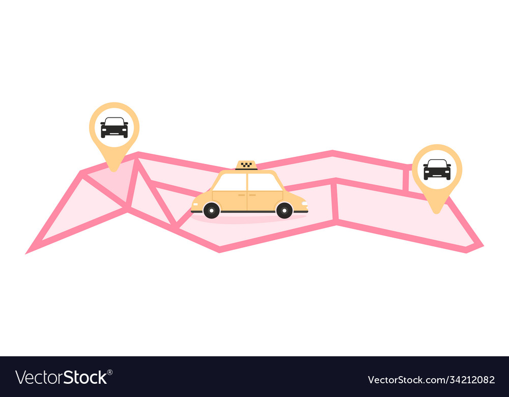 Online taxi or rent transportation set isolated
