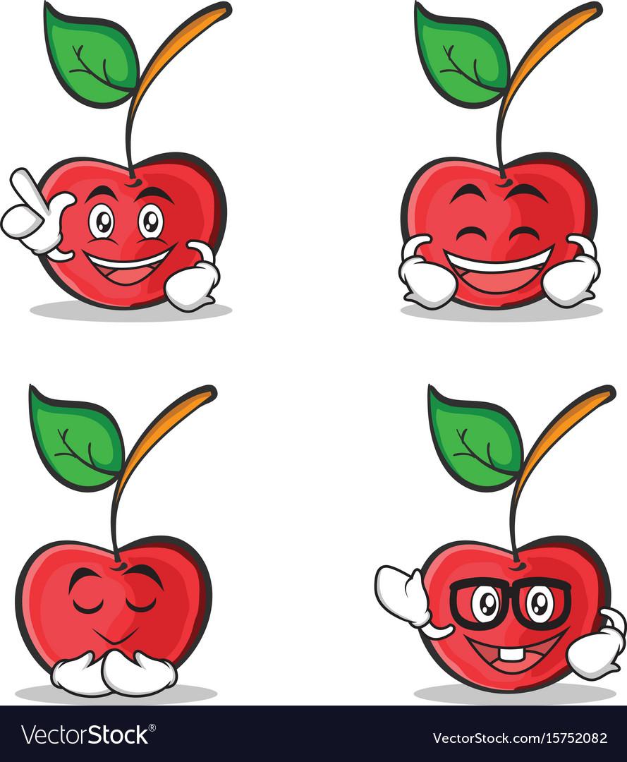 Set of cherry character cartoon style